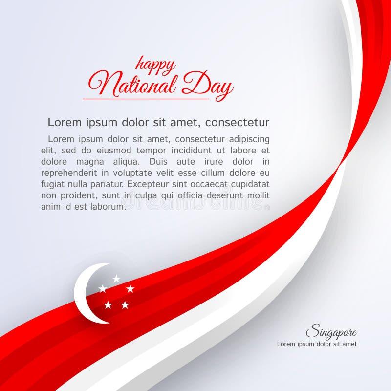 La festa nazionale felice Singapore del manifesto ha curvato le linee bianche rosse del nastro su un fondo patriottico della cele royalty illustrazione gratis