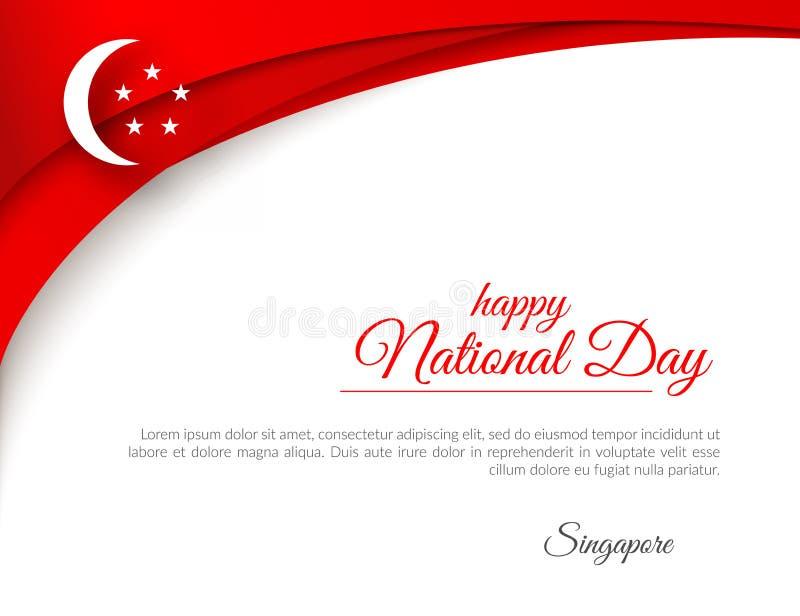 La festa nazionale felice Singapore dell'insegna ha curvato le linee rosse del modello su un fondo patriottico della celebrazione illustrazione vettoriale