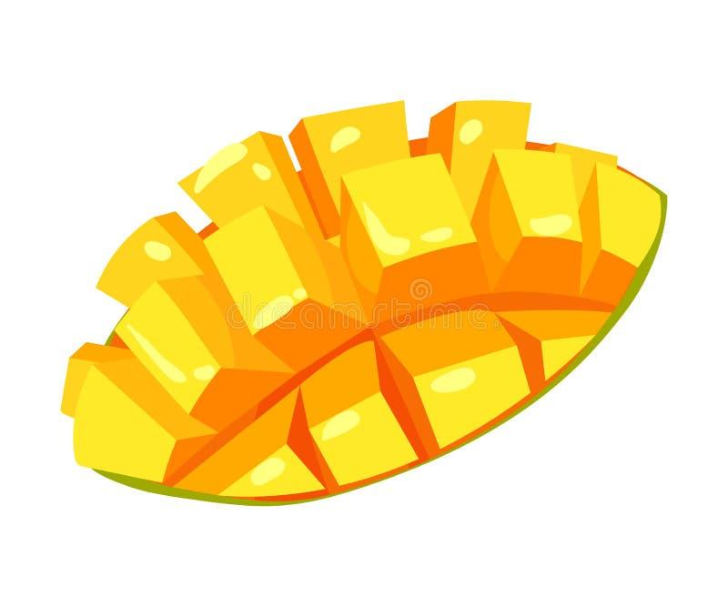 La fetta del mango incide i pezzi Illustrazione di vettore su priorit? bassa bianca royalty illustrazione gratis