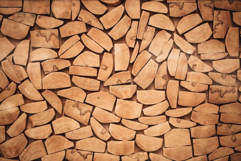 La fetta di legno del ceppo ha tagliato la struttura di legno della parete di legname fotografia stock