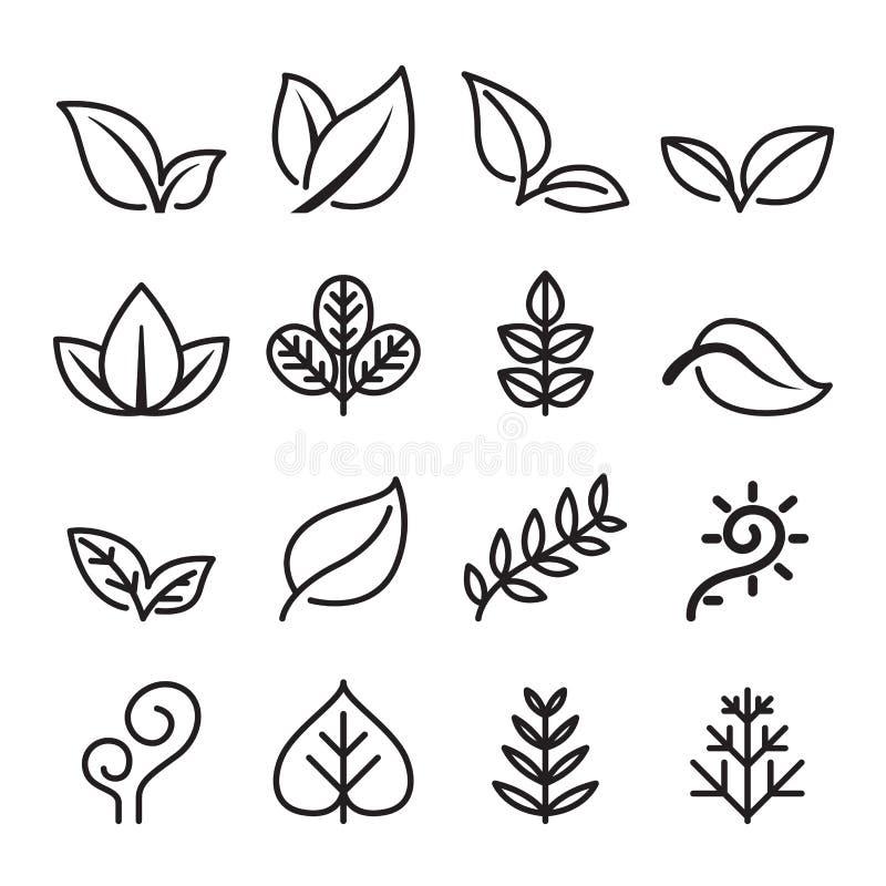 La feuille, végétarien, icône d'herbe a placé dans la ligne style mince illustration libre de droits