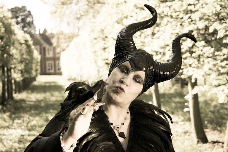 La fiaba diabolica, la regina malefica e ostile con i corni ed il corvo mettono le piume all'abito fotografia stock libera da diritti