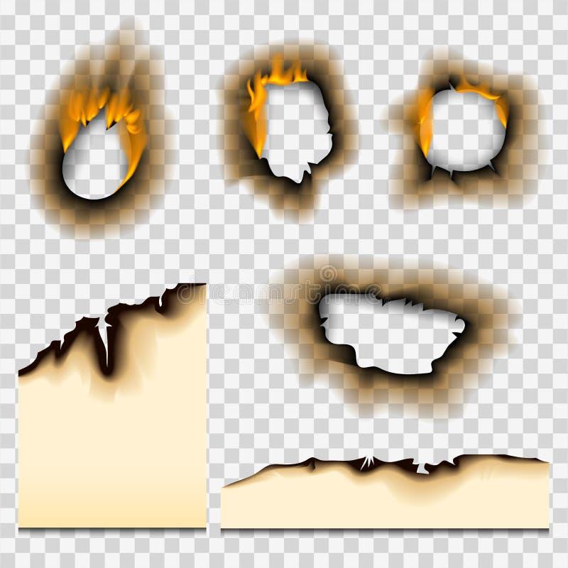La fiamma realistica sbiadita bruciata del fuoco del foro di carta bruciata pezzo ha isolato l'illustrazione lacerata di vettore  illustrazione di stock