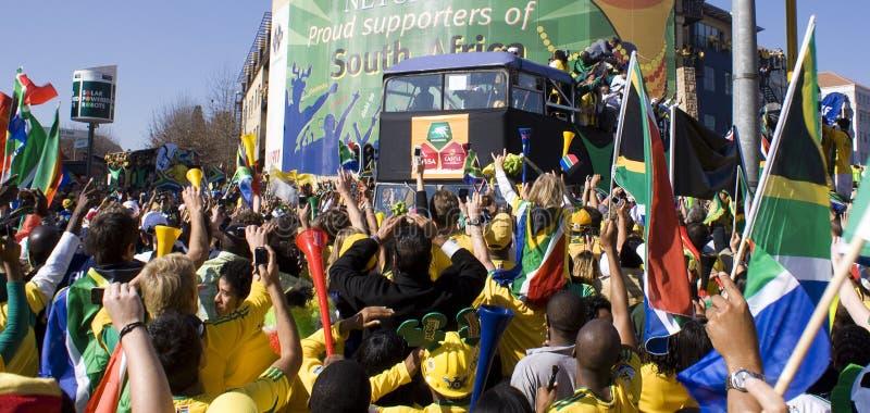 La fiebre del fútbol de la taza de mundo aprieta las calles de Sandton foto de archivo libre de regalías