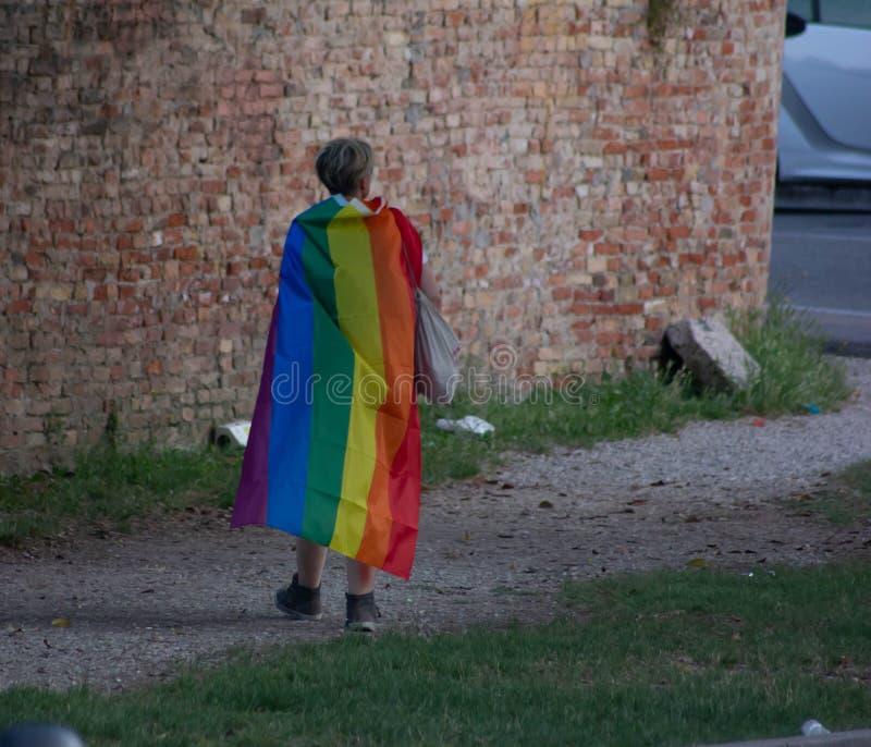 La fierté gaie de Trévise, le défilé devant le Duomo et dans la fierté gaie de Signori The de dei de Piazza de Trévise, le défilé image stock