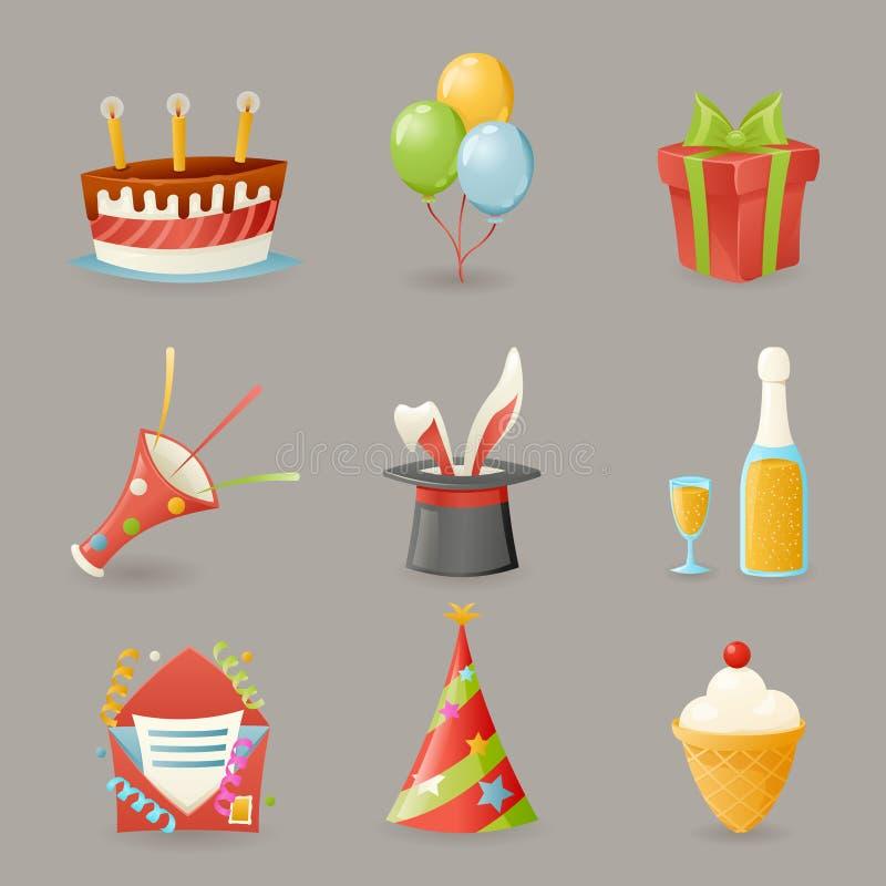 La fiesta de cumpleaños celebra el ejemplo realista del vector del diseño de la historieta de los iconos y del sistema de símbolo stock de ilustración