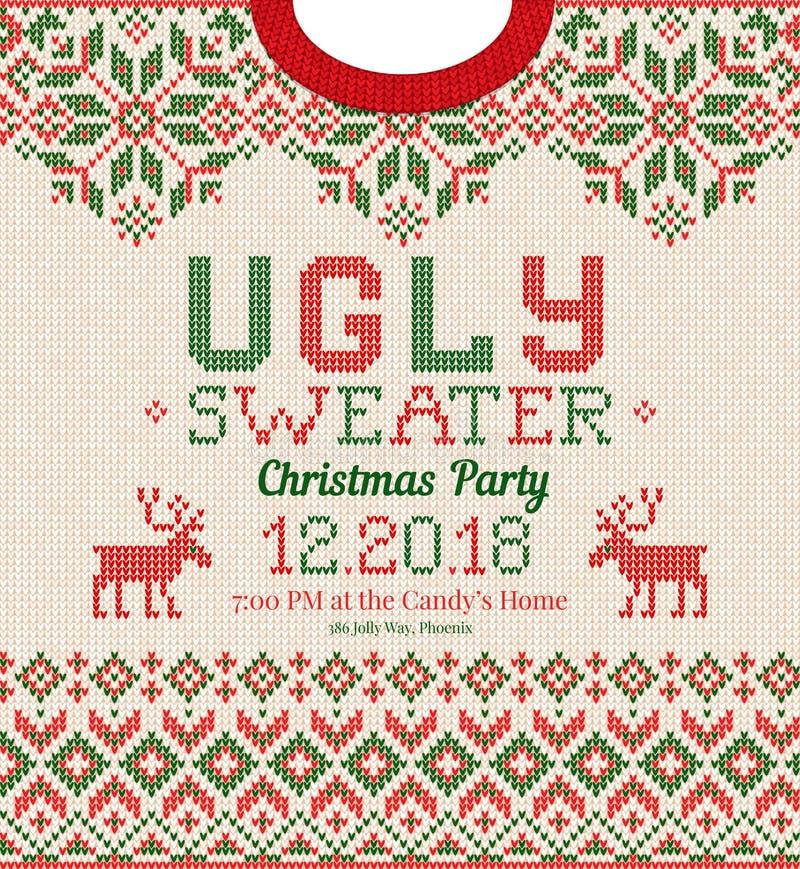 La fiesta de Navidad fea del suéter invita Ornamentos hechos punto del escandinavo del modelo del fondo libre illustration