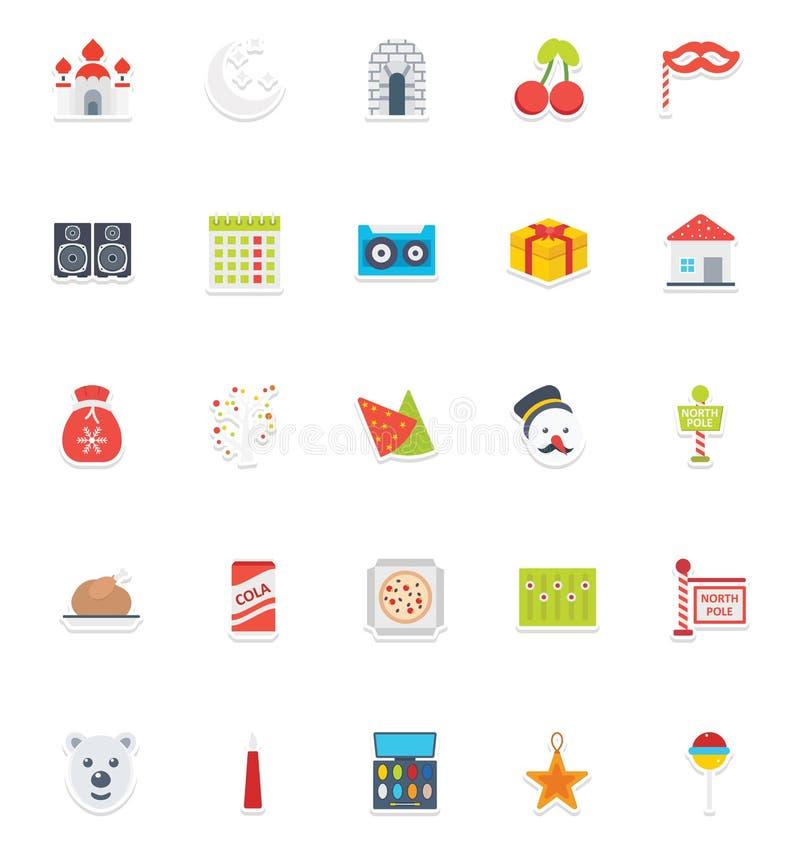 La fiesta de Navidad que los iconos del vector del color fijan eso puede ser modificada fácilmente o corregir a la fiesta de Navi ilustración del vector
