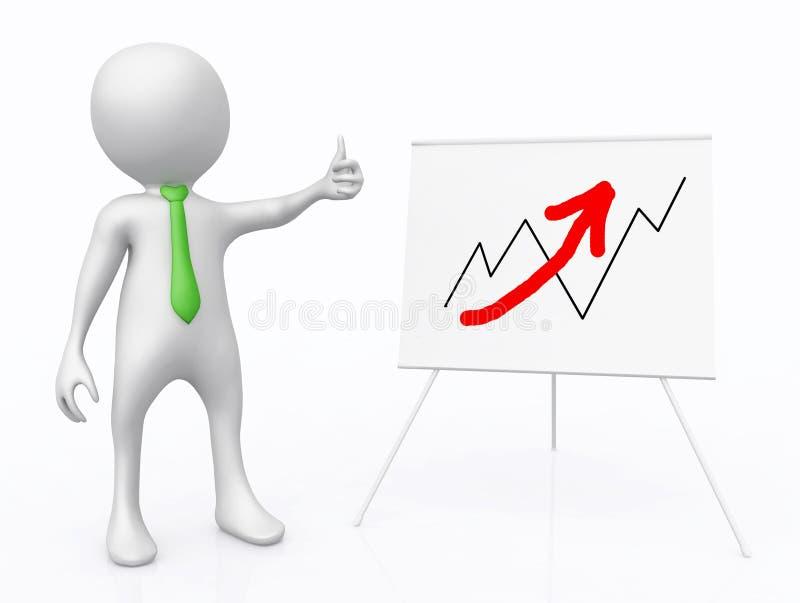 la figura 3D davanti al grafico di vibrazione con le vendite curva illustrazione di stock