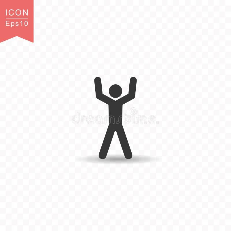 La figura del palillo un hombre aumenta su ejemplo plano simple del vector del estilo del icono de la silueta de la mano en fondo stock de ilustración