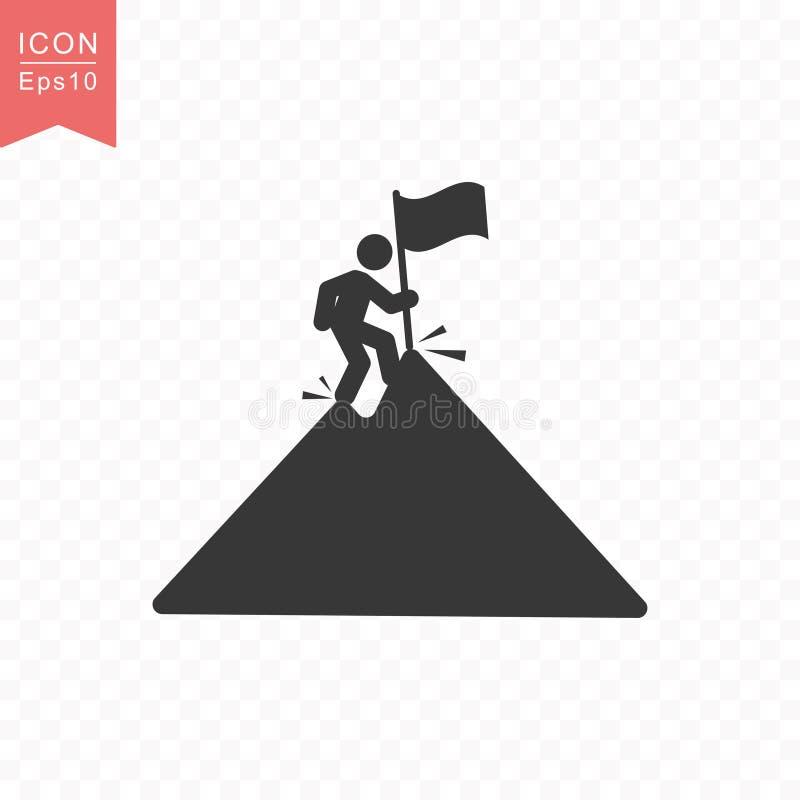 La figura del palillo un hombre sube un pico de montaña con un ejemplo plano simple del vector del estilo del icono de la silueta stock de ilustración