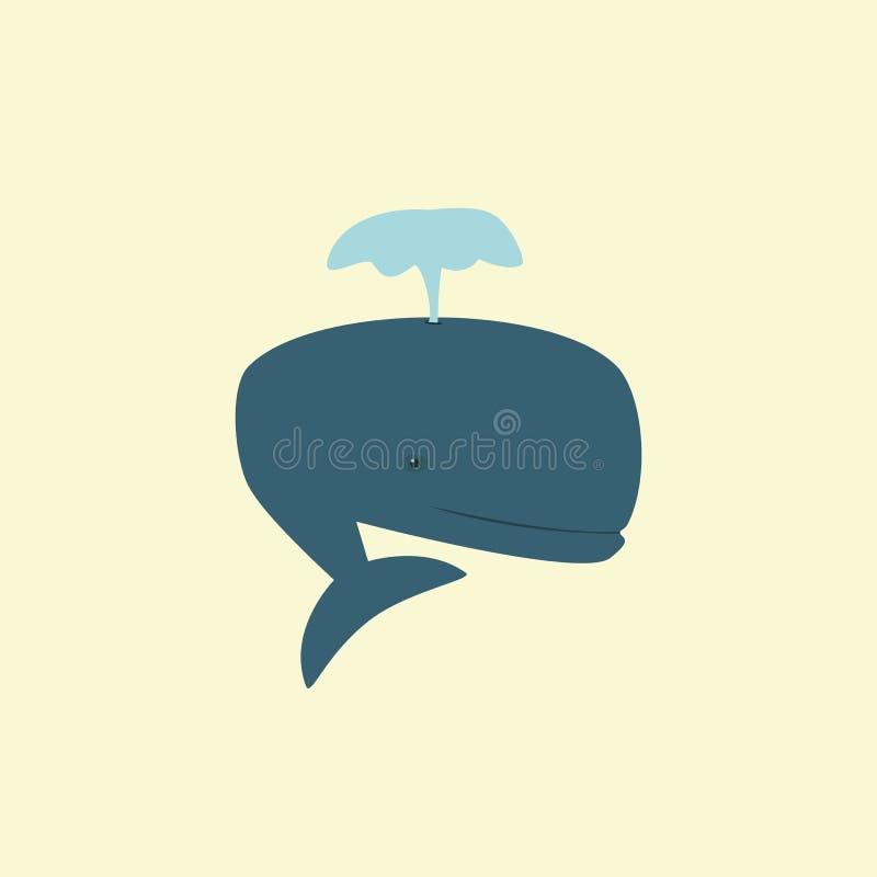 La figura di una balena blu produce la fontana royalty illustrazione gratis