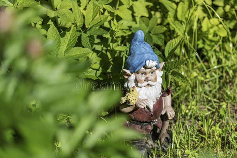 La figura di uno gnomo del giardino nell'erba verde Copi lo spazio Fuoco selettivo fotografie stock