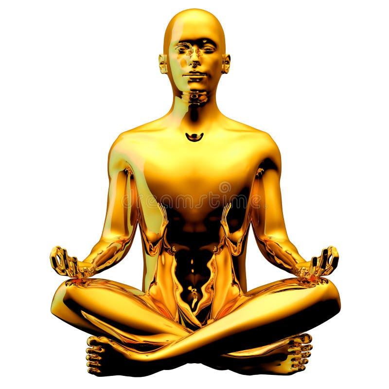 La figura dorata posa dell'uomo del loto di yoga ha stilizzato scintillare lucido royalty illustrazione gratis