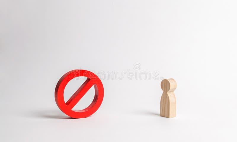 La figura humana no está mirando ninguna muestra o ningún símbolo prohibición y restricción Censura, control sobre Internet imágenes de archivo libres de regalías