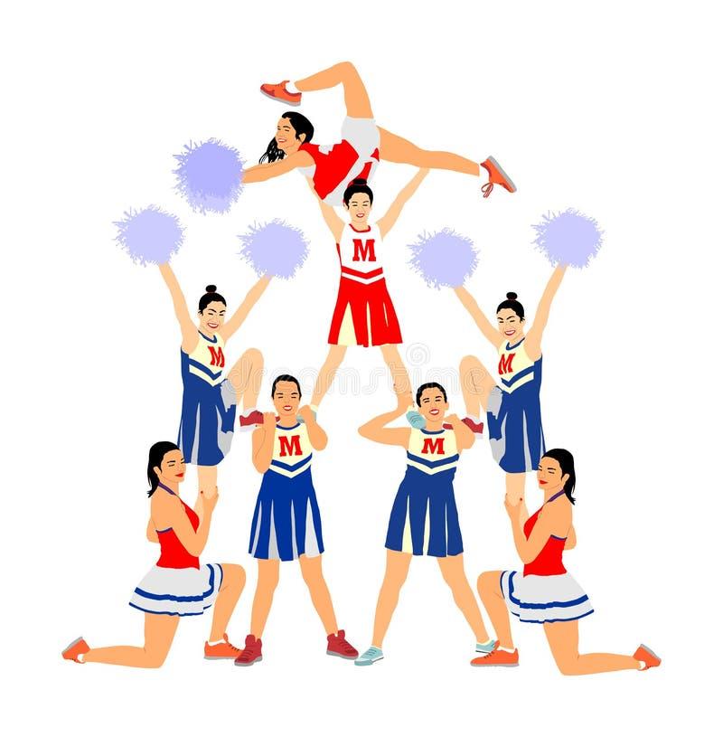 La figura illustrazione dei ballerini della ragazza pon pon ha isolato Supporto principale di sport della ragazza di acclamazione immagine stock