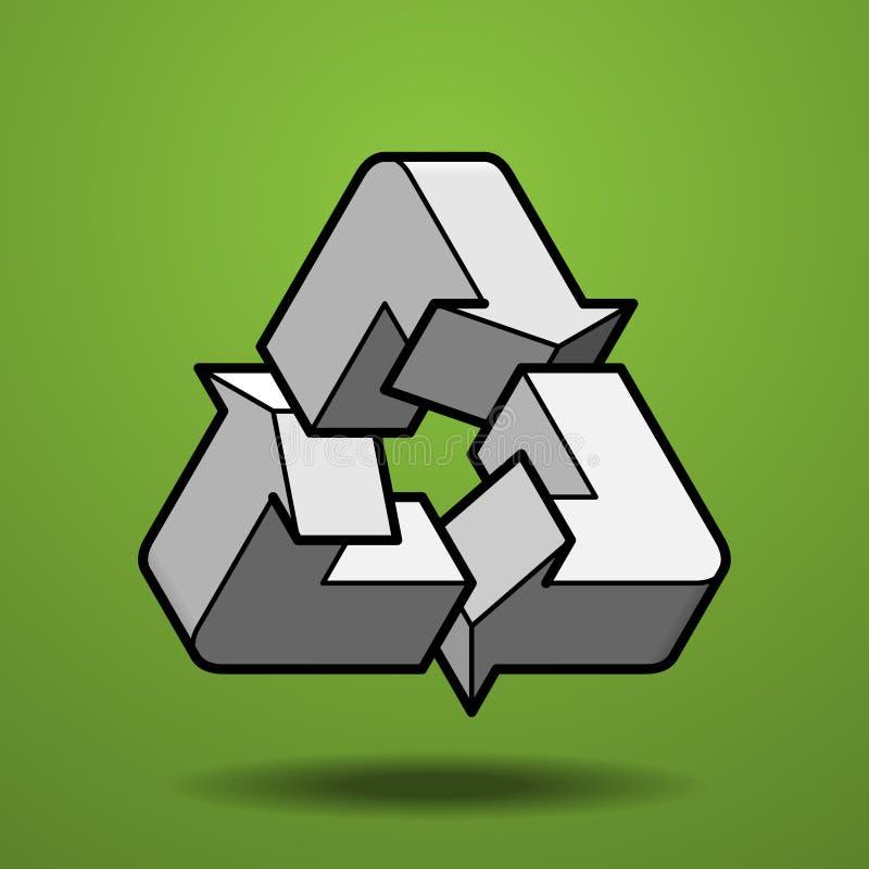 La figura impossibile ricicla l'icona su fondo verde fotografie stock