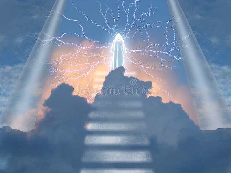La figura irradia electrity en cielos stock de ilustración