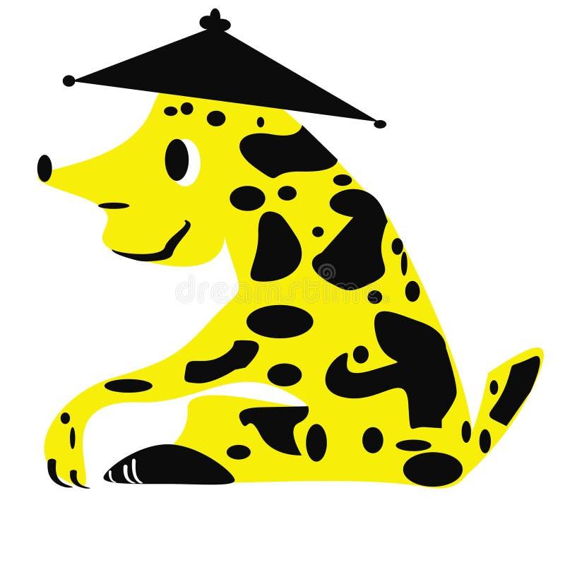La figura isolata di un animale fantastico che somiglia ad un cane di seduta in un cappello royalty illustrazione gratis