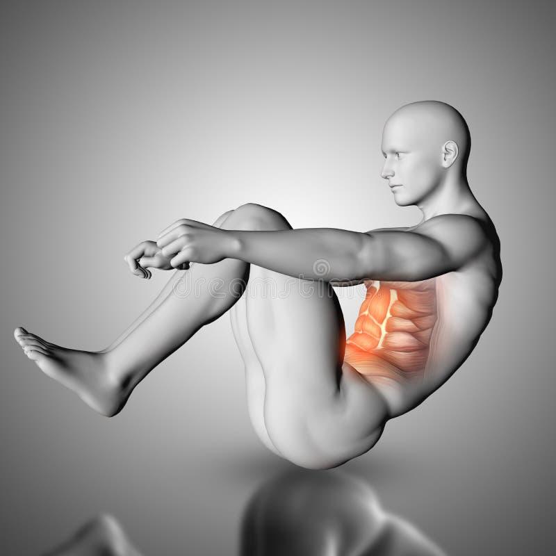 la figura maschio 3D che fa l'esercizio di scricchiolio con i muscoli di stomaco ha evidenziato illustrazione vettoriale