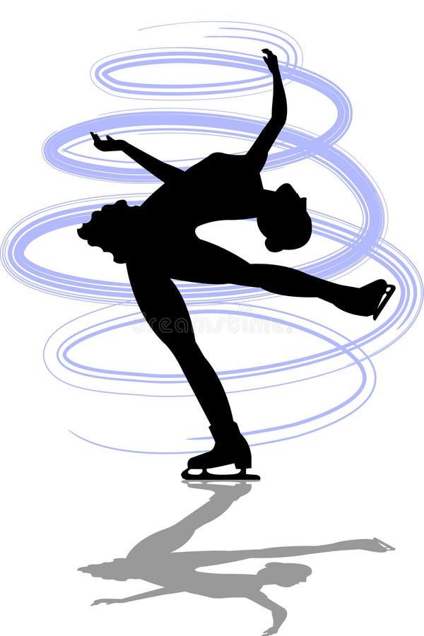 La figura patinador reclina Spin/ai stock de ilustración