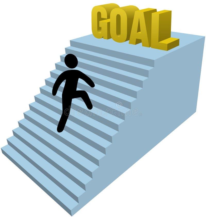 La figura punti del bastone di ascensione della persona realizza l'obiettivo royalty illustrazione gratis