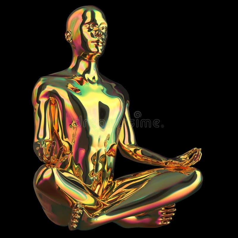 La figura stilizzata dell'oro di posa del loto dell'uomo di yoga ha lucidato scintillare royalty illustrazione gratis