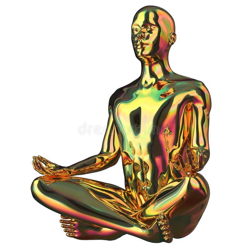 La figura stilizzata dorata di posa del loto dell'uomo di yoga ha lucidato scintillare illustrazione vettoriale