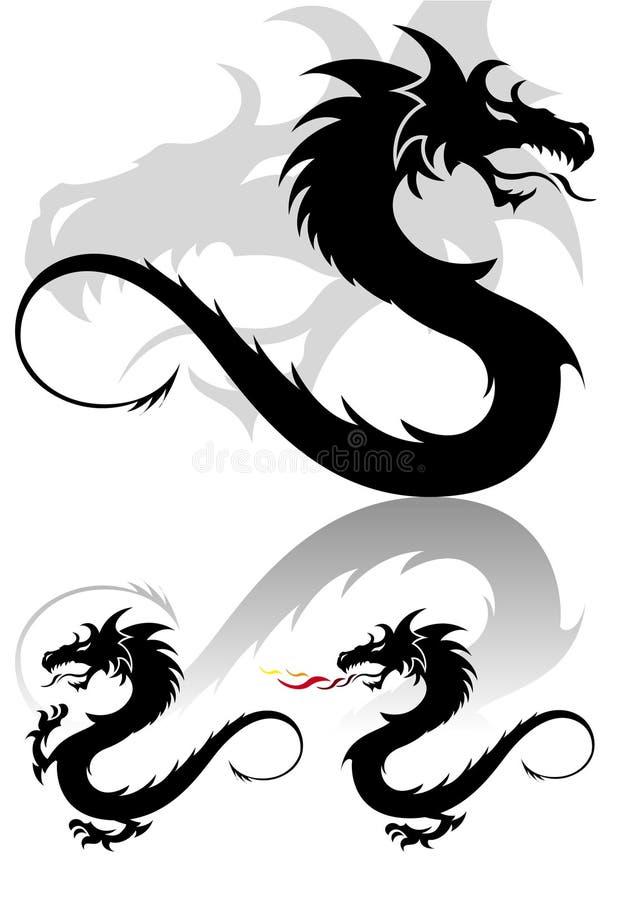 La figura tribal del tatuaje del dragón fijó en colores lindos stock de ilustración