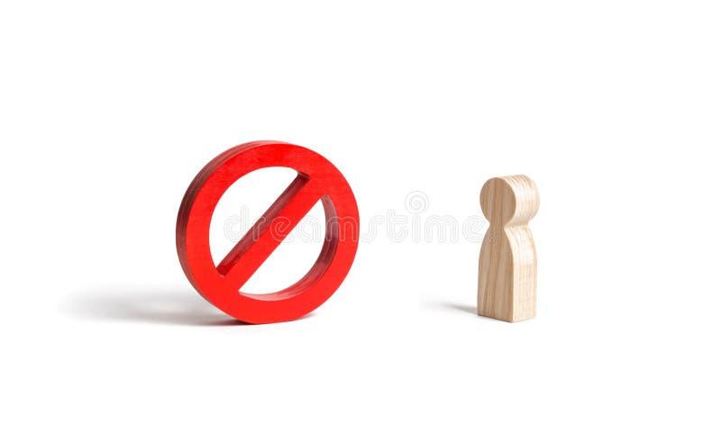 La figura umana non sta esaminando segno o simbolo su un fondo isolato proibizione e restrizione Censura, controllo più immagine stock libera da diritti