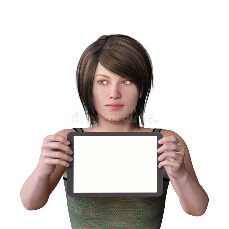 la figure 3D rendent d'une figure femelle avec un comprimé vide pour le contenu et des yeux regardant vers la droite image stock