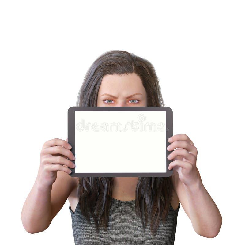 la figure 3D rendent d'une figure femelle avec un comprimé vide pour le contenu et l'expression fâchée image libre de droits