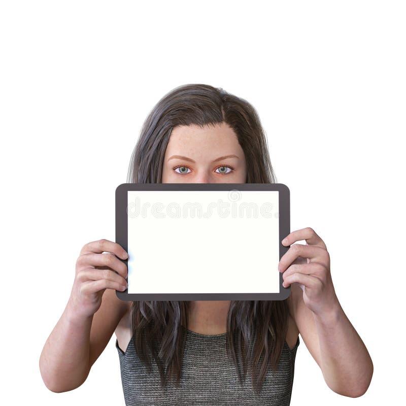 la figure 3D rendent d'une figure femelle avec un comprimé vide pour le contenu et l'expression neutre photographie stock libre de droits