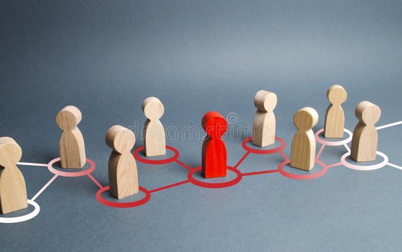 La figure humaine rouge prolonge son influence aux figures voisines Idées et pensées de propagation, nouveaux membres recruteurs images libres de droits
