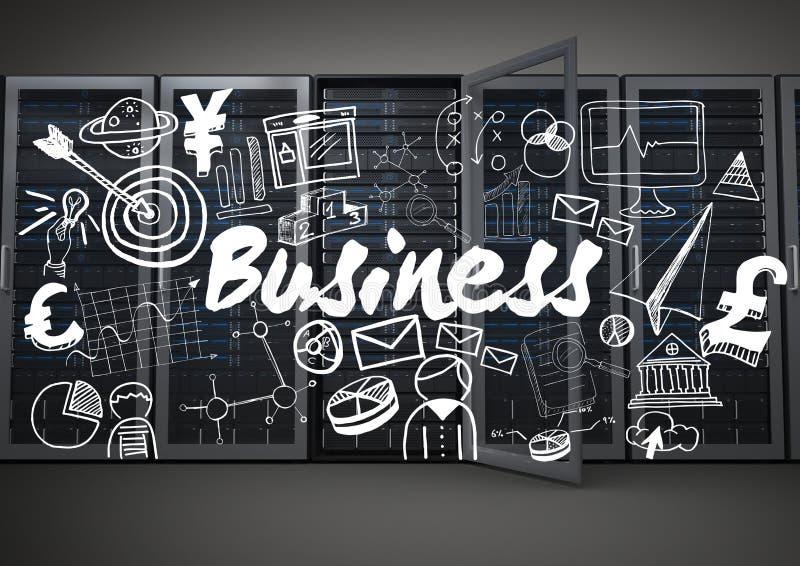 La fila de servidores con el negocio blanco garabatea contra fondo gris stock de ilustración