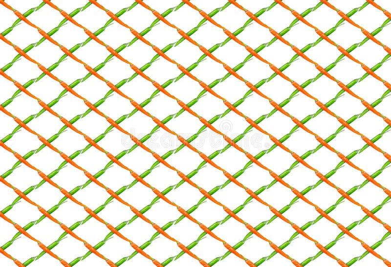 La fila neta de la línea inclinada de pimientas de chile se entrecruza con verde en el ornamento vegetal del fondo blanco foto de archivo