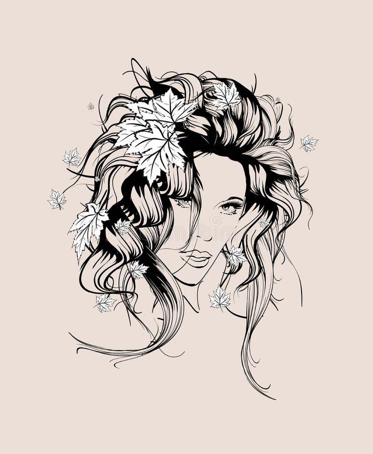 La fille élégante d'automne avec l'érable part dans les cheveux illustration libre de droits