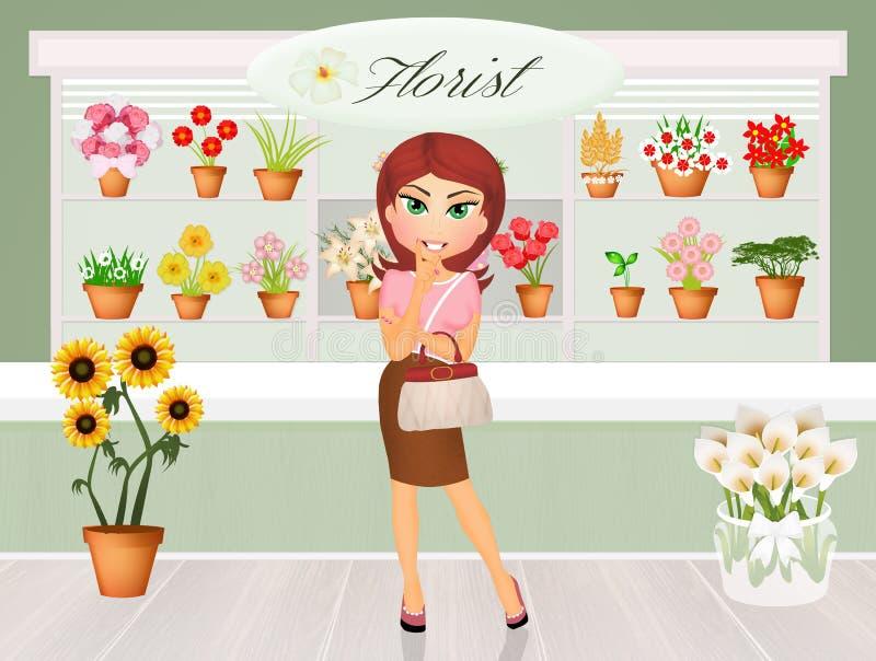 La fille achète des fleurs illustration stock