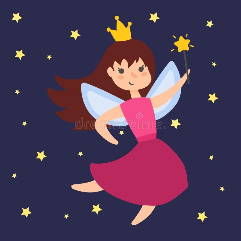 La fille adorable d'ange de beauté d'imagination de caractère de princesse féerique avec des ailes dirigent l'illustration illustration stock
