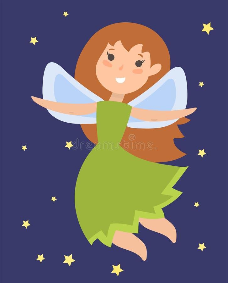 La fille adorable d'ange de beauté d'imagination de caractère de princesse féerique avec des ailes dirigent l'illustration illustration de vecteur