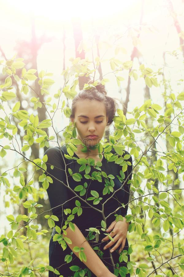 La fille adorable se cachant dans l'arbre vert quitte au printemps la for?t images libres de droits