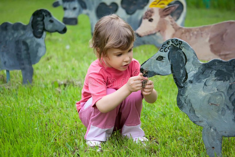 La fille alimente les moutons en bois image libre de droits