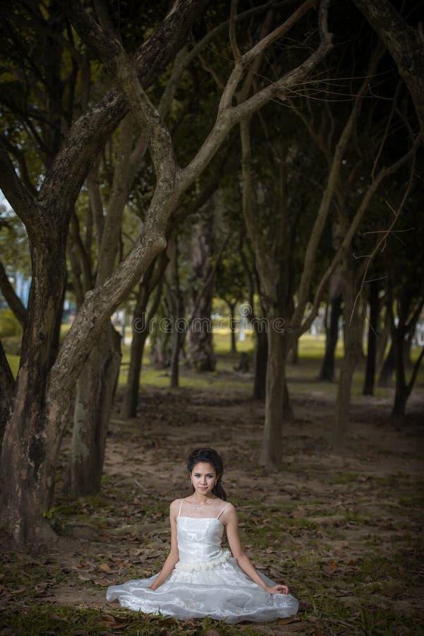 La fille asiatique dans la robe de mariage dans la forêt photos libres de droits