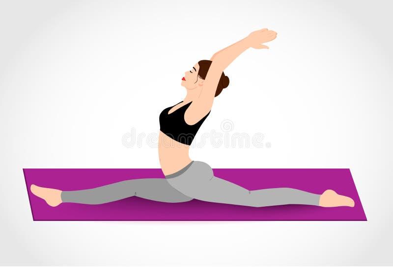 La fille assez jeune pratique des pilates, ficelle Illustration de vecteur illustration stock