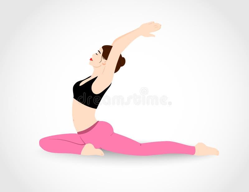 La fille assez jeune pratique des pilates Illustration de vecteur illustration stock
