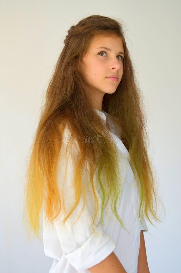 Download La Fille Avec De Longs Cheveux A Teint Avec Les Mèches Colorées Photo stock - Image du verticale, facial: 76082924