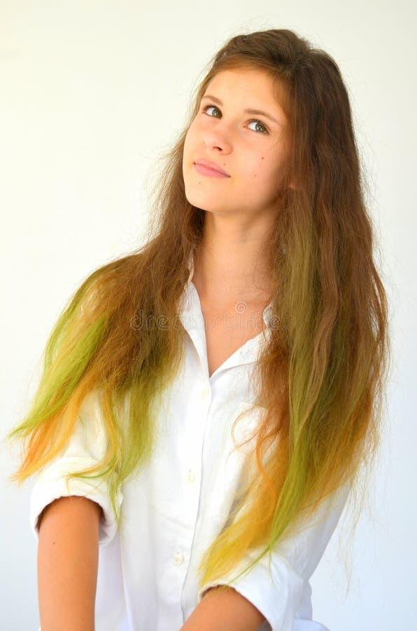 Download La Fille Avec De Longs Cheveux A Teint Avec Les Mèches Colorées Image stock - Image du tressé, coiffure: 76082987