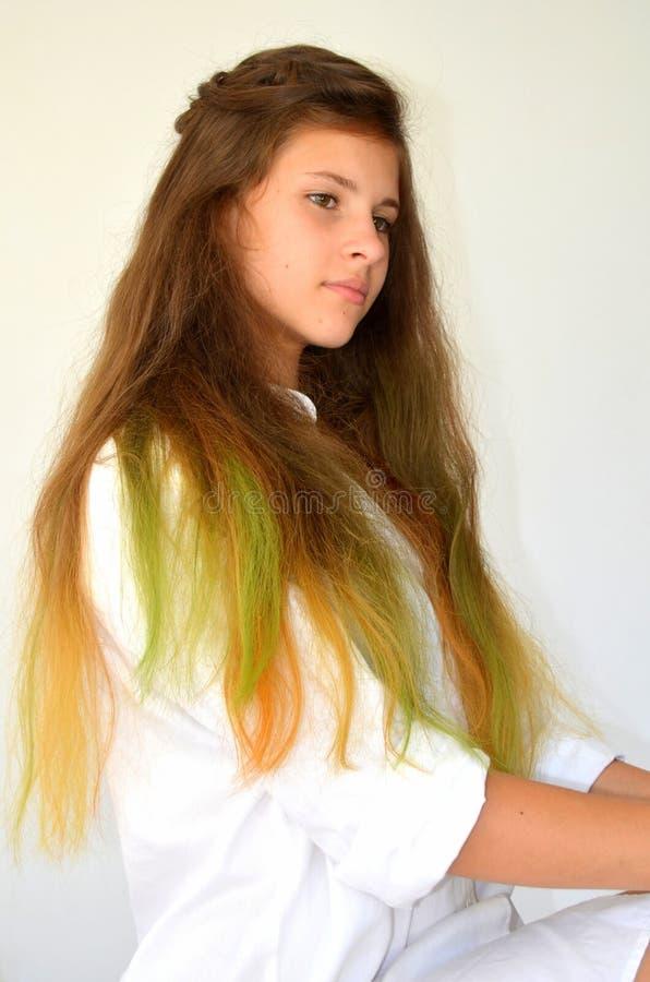 Download La Fille Avec De Longs Cheveux A Teint Avec Les Mèches Colorées Photo stock - Image du regard, tressage: 76082996