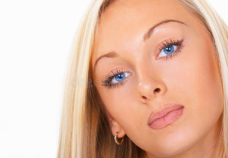 La fille avec des œil bleu image stock