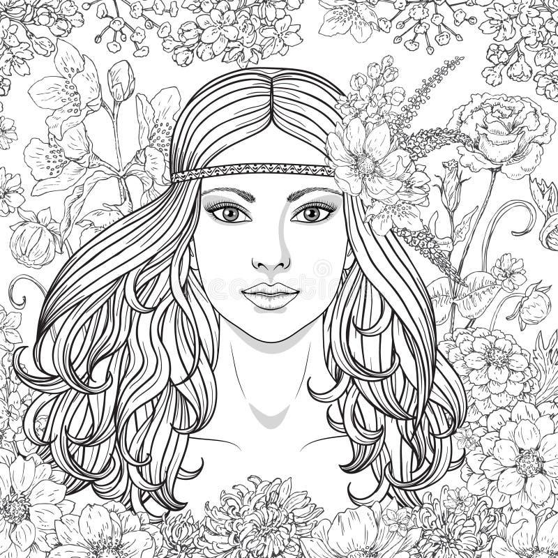 La fille avec des fleurs a contourné l'image illustration libre de droits